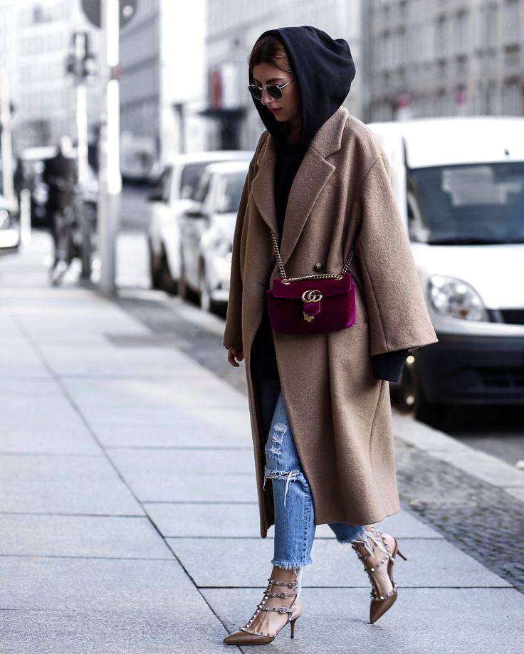 Valentina rockstud heels! Gucci Marmont velvet bag - look up on www.aylinkoenig.com