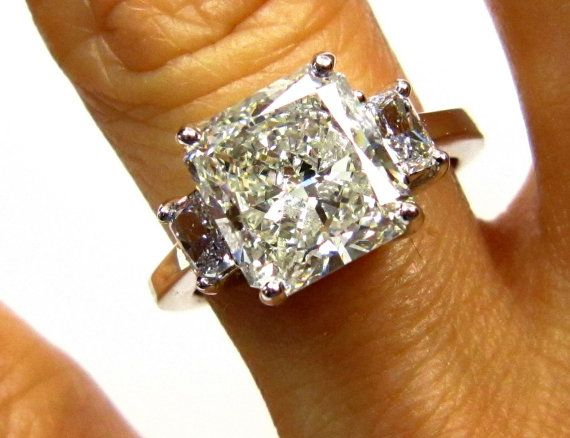 3 83ct Estate Vintage Radiant Cut Diamond Egl Usa 3 Stone Engagement Wedding Anniversary Ring In