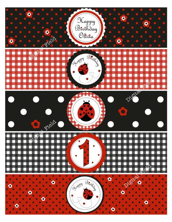 Ladybug Water Bottle Labels  DIY Printable  by digitalfield, $4.00
