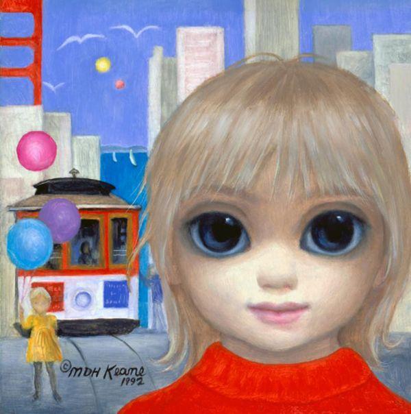 """""""Adesso i vecchi e tristi colori sono scomparsi dai miei dipinti. Nei miei ultimi ritratti i bambini ridono e giocano con gli animali. Dipingo il paradiso sulla terra. Tuttavia, qualche volta, realizzo ancora quadri tristi perché non bisogna dimenticare che c'è molta tristezza su questa terra."""" Margaret Keane, immagine reperita su google."""