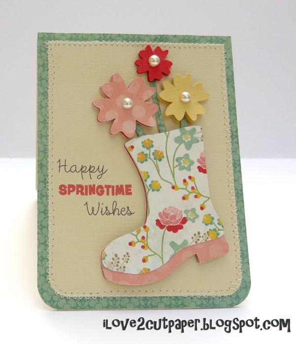 INSPIRATION for Cricut Nate's ABCs - rubber boots, galoshes, Wellies, flowers. This project was made using Pazzles Studio Pro Software.