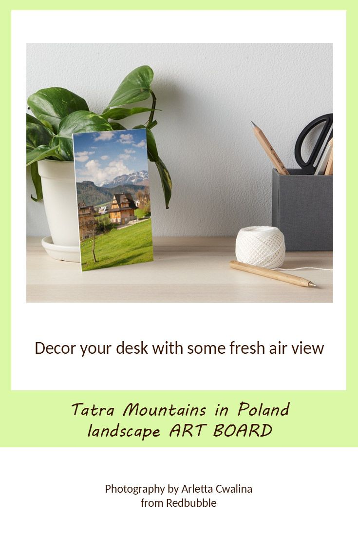 Searching for a nice decor idea to refresh your home or office desk? Art Board with the Tatra Mountains landscape in Poland. Nature Photography by Arletta Cwalina/ @redbubble. See more clothes and home decor ideas and if you love it, feel free to share, maybe your friends would like to have it too :) #homedecor #artboard #tatra #mountains #poland
