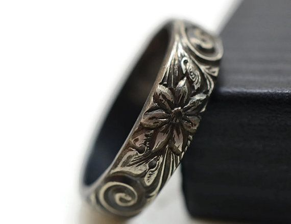 Oxidized Silver Floral Wedding Band, Renaissance Band, Engagement Ring, Men's Wedding Band, Inside Engraving, Personalized Ring,
