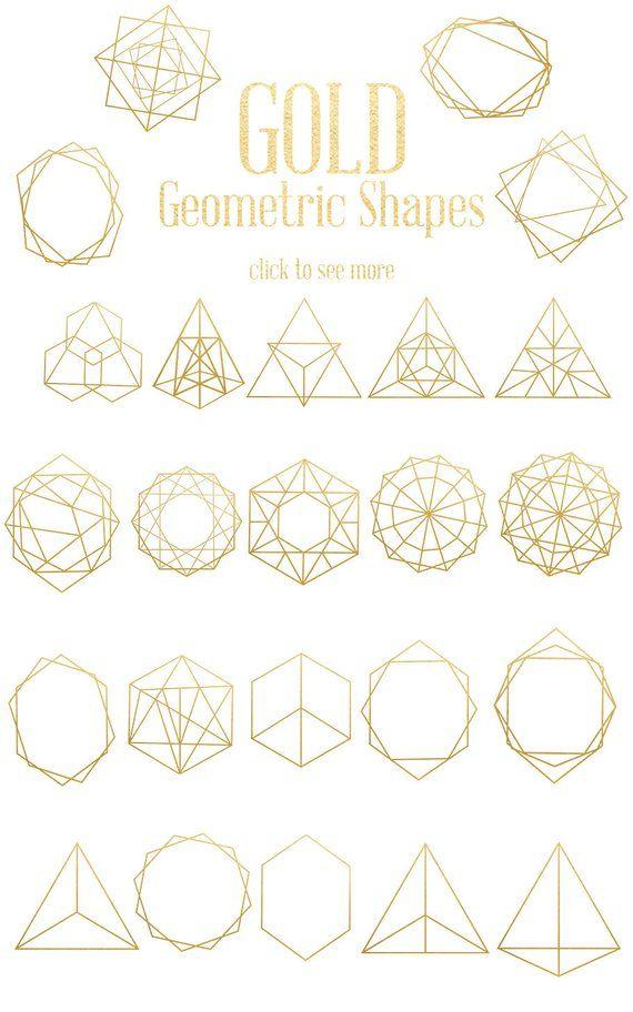 Gold Geometric Shapes Gold Decorative Shapes Astronomy Etsy