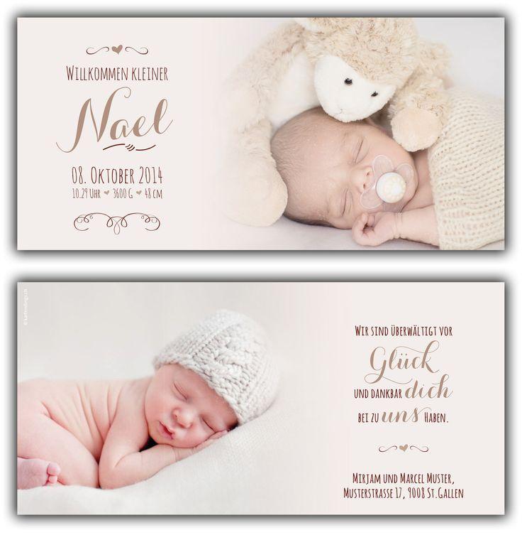 Nael: Geburtskarte 210x100 mm // Karte ist auch in ihrer Wunschfarbe erhältlich // (©Fotos: http://www.corinnechollet.ch)