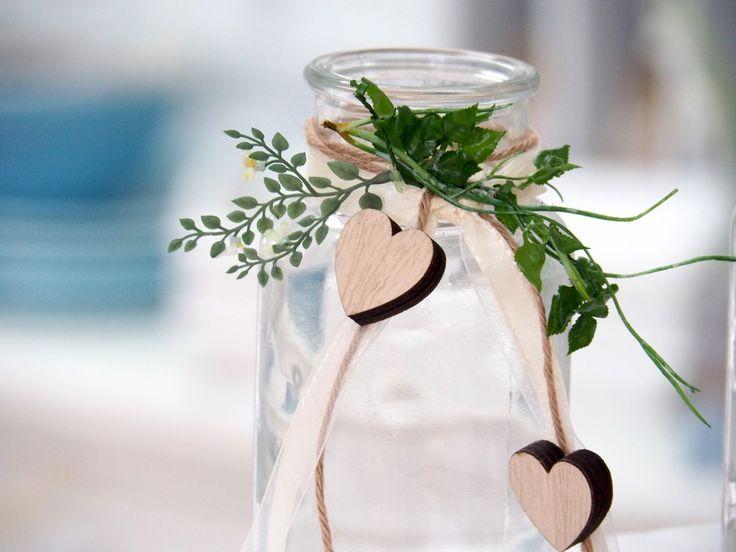 2 Vasen Hochzeit Vintage Tischdeko Gläser Herz Deko Geburtstag ANNA