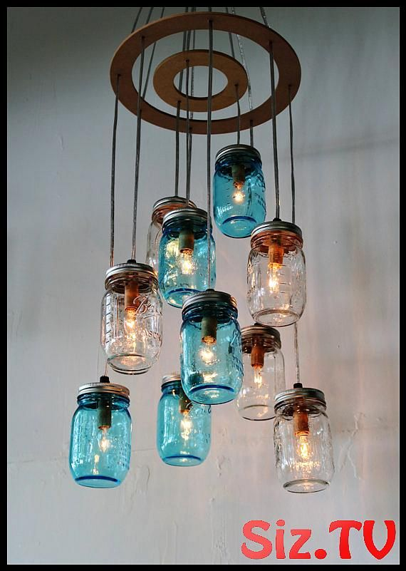 Mason Jar Cluster Chandelier Upcycled Hanging Mason Jar Lighting Fixture Blue Clear Jars Rustic Bootsngus Lamps With Images Mason Jar Chandelier Mason Jar Lighting Jar Lights
