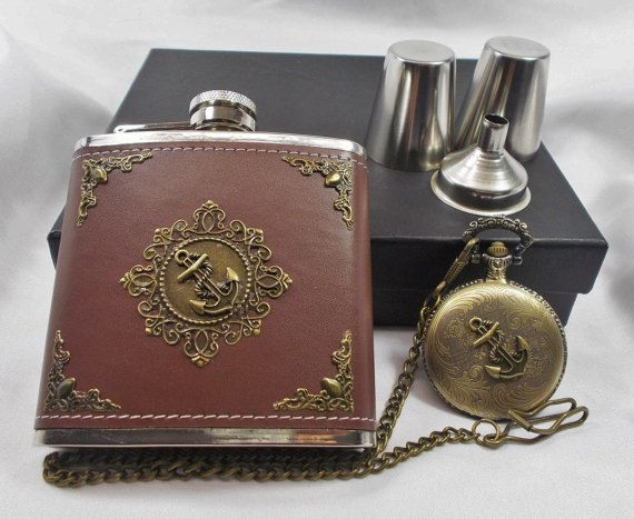 Anchor Flask Set with Pocket Watch  Gift Set in by mythicaljewelry
