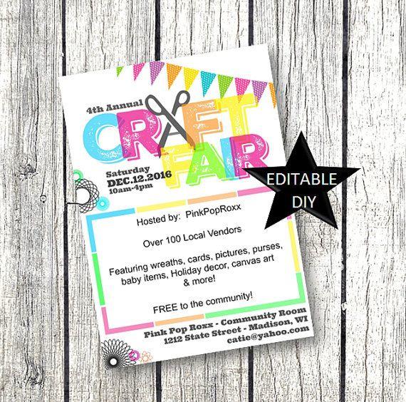 Craft Fair Flyer Invitation DIY Editable Customizable
