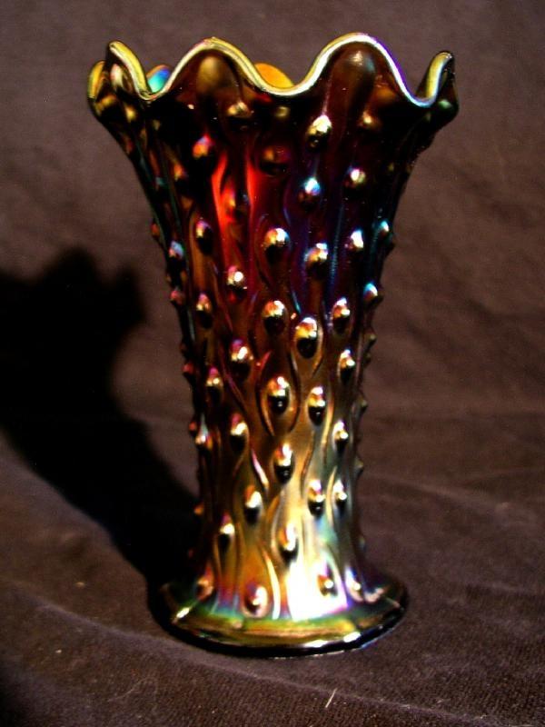 Northwood carnival glass, purple tree trunk vase.