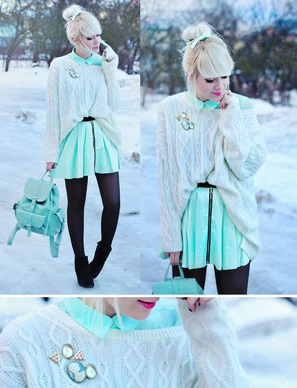 Skirt, Mint Bag, Oversized Sweater, Brooches | To flatten the skyline and begin again. (by Kerti P.)