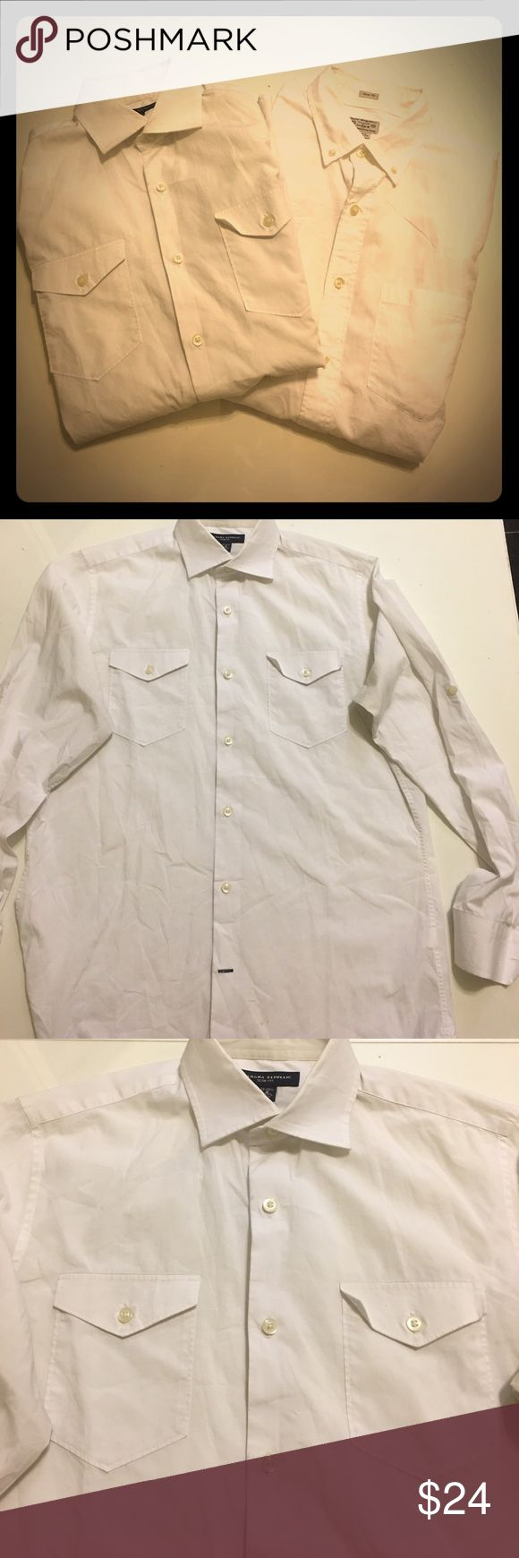 Bundle of 2 White Button Down Collared Shirts S One is a Banana Republic slim fit size small, 14-14.5, with 2 front button pockets and buttons on the upper arms to roll up and secure the sleeves. It has tiny dot stains on the front lower part where you tuck it in. Otherwise great condition. The other is a J.Crew slim fit size small with one front chest pocket, no stains, classic white shirt you wear with a suit or however you wear a white button down. Both 100% cotton. This price is for both…