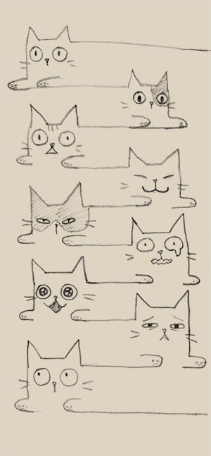nyang nyang by bean8808.deviantart.com on @deviantART These cats look a bit hyper-thyroid!!! lol