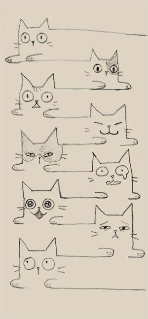 nyang nyang by bean8808.deviantart.com on @deviantART These cats look a bit hyper-thyroid!!! lol