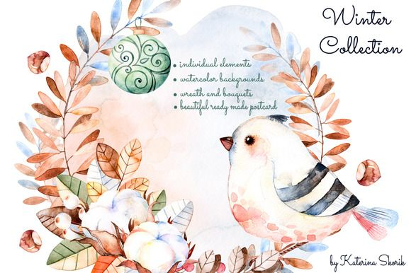 watercolor wreath with bird | water graphics | graphic design resources from Creative Market