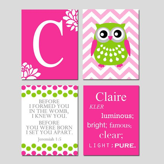 Kids Wall Art  Custom Name Meaning Owl Quad  Floral by Tessyla, $79.50