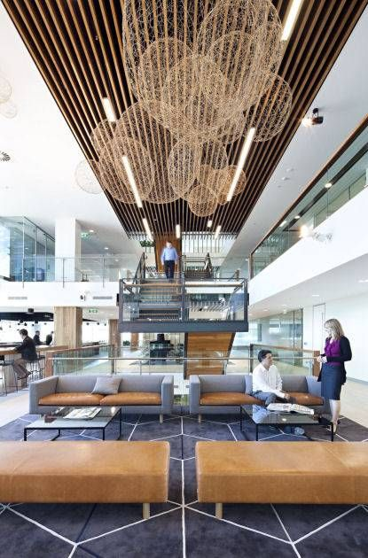 Interesting use natural materials and texture by WAN INTERIORS Offices/commercial, AECOM BRISBANE WORKPLACE