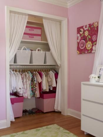 This would be awesome for a small closet - removing the closet door makes the space more open and the hanging clothes at the bottom is more accessible for kids.