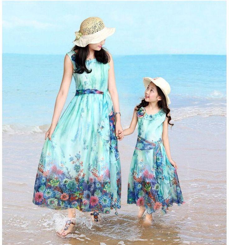 Moda combinando roupas da família mãe filha vestido Bohemian Praia Vestido de chiffon vestido Para A Mãe das Crianças Roupas Da Moda em Family Matching Outfits de Mamãe e Bebê no AliExpress.com | Alibaba Group