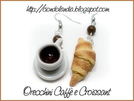 --Ciondolandia-- Caffè & Croissant Polymer Clay Miniature Food Jewelry ^_^