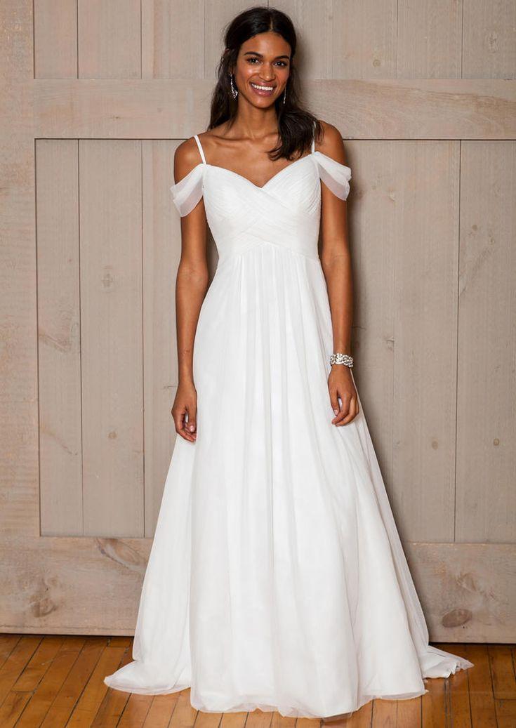 David's Bridal Fall 2016 off-the-shoulder chiffon wedding dress  | https://www.theknot.com/content/davids-bridal-wedding-dresses-bridal-fashion-week-fall-2016