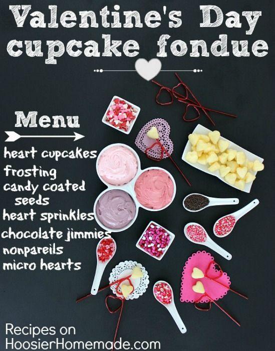 Valentine's Day Cupcake Fondue :: Recipes on HoosierHomemade.com~T~ Great idea, mini heart cupcakes, and all the fixings to make a fun fondue bar.