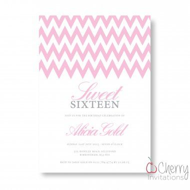 Pink Chevron Themed Single Sided Personalised Birthday Invitations - From as little as £0.41 per card - Including free envelopes and delivery on all orders!