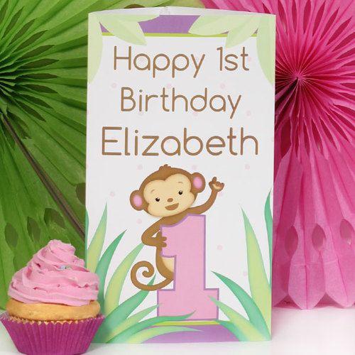 Monkey Girl 1st Birthday Personalized Centerpiece