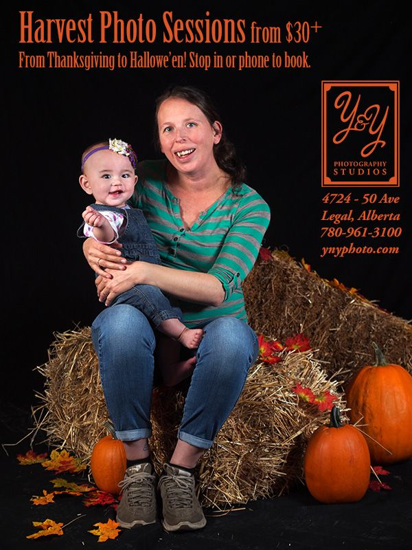 Our Fall Harvest Photo Set is available until Hallowe'en at Y&Y Photography Studios in Legal, AB!