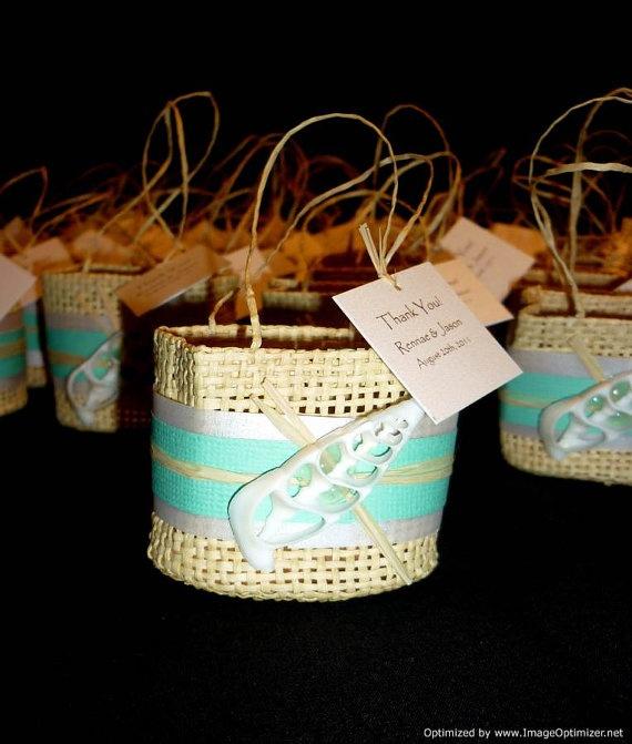 Beach Bag Wedding Favor Ideas : These are super cute! Woven Beach Favor Bag Beach Wedding by ...
