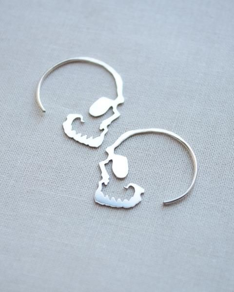 Skull Hoop Earrings | Skull earrings, Sterling silver and ...