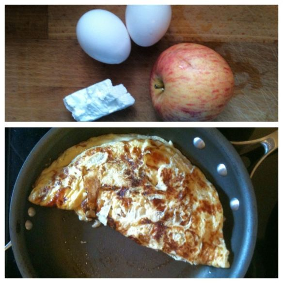 Recipe: Maple Apple Omelette with Cheese (329 calories per serving)