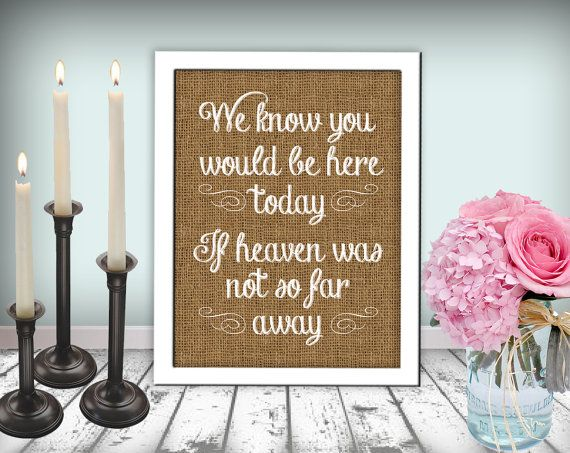 Burlap Wedding In Memory Of Sign Heaven Sign Chalkboard Printable 8x10 PDF Instant Download Rustic Shabby Chic Woodland