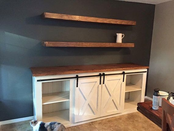 Custom Barn Door Buffet Table - Rustic, Handmade, Farmhouse