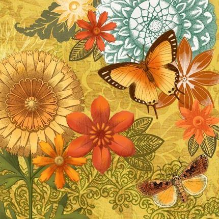 Autumn Botanical Yellow Butterflies by Jennifer Brinley   Ruth Levison Design