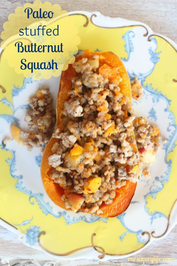 This paleo stuffed butternut squash is so hearty and delicious!!! It's bursting with the flavors of fall. and is easy enough for a weeknight meal!