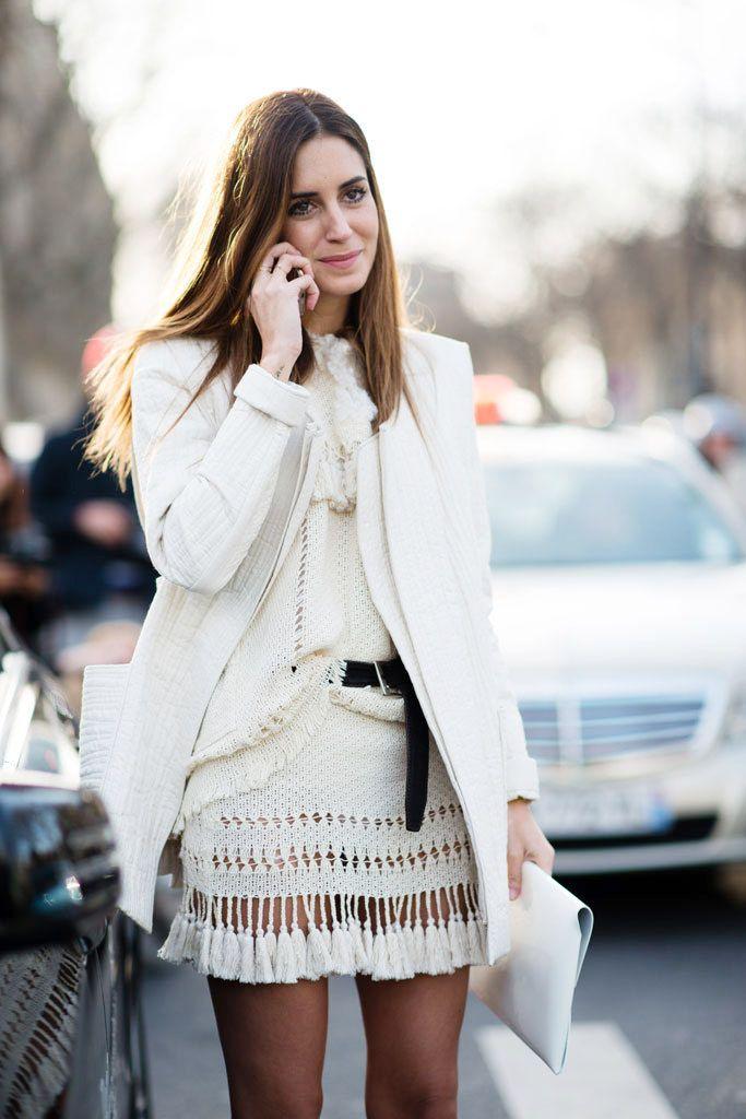 Look of the Day.421: Outside Isabel Marant// #white #knit #sweater #fringe #jacket #skirt #style #stylish #fashion #StreetStyle #model #socialite #blogger #FashionBlogger #DJ #FashionDesigner #GalaGonzalez #Amlul #London #England #UK #Spanish #IsabelMarant @imarantofficial: