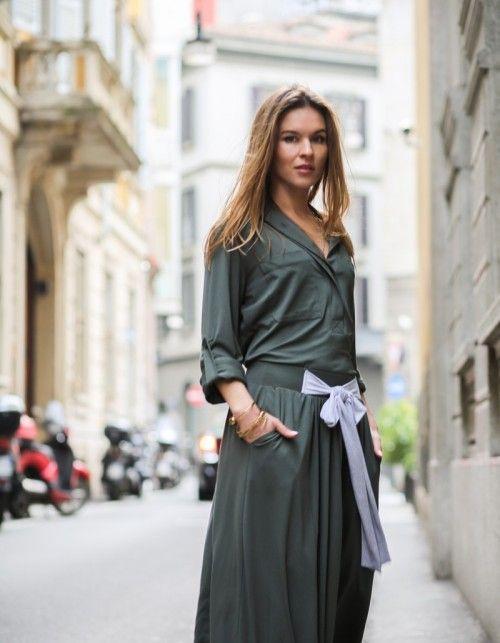 spódnica z kokardą Baldresówa military green