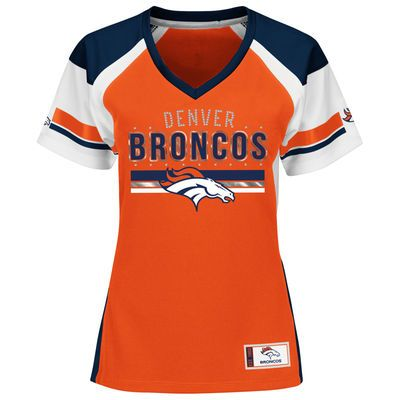 Women's Denver Broncos Majestic Orange Plus Sizes Draft Me Fashion T-Shirt