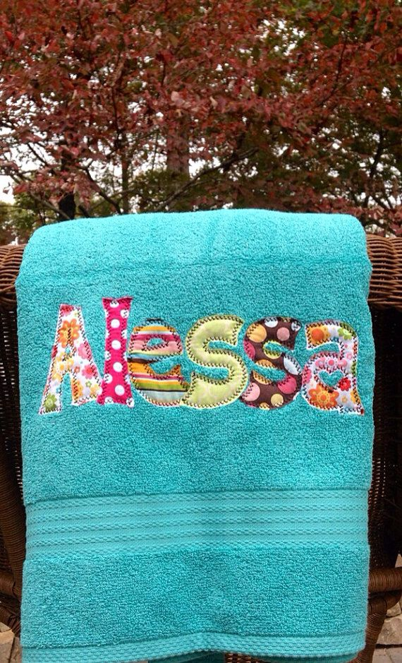 Applique Name Towel Nap Mat Cover Personalized Bath Towel Great Gift For Kids Bridesmaid