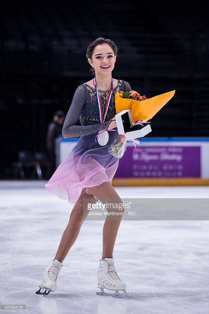 Evgenia Medvedeva of Russia celebrates winning the Ladies Singles on day two of the Trophee de France ISU Grand Prix of Figure Skating at Accorhotels Arena on November 12, 2016 in Paris, France.