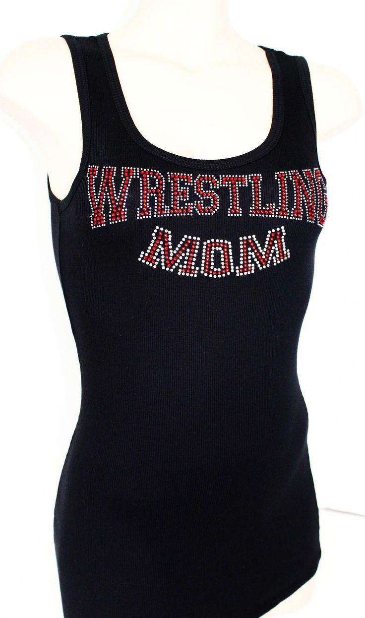 Rhinestone Wrestling Mom Junior Racerback Tank Top