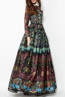 Pure Color High Split Long Sleeve Dress RED: Maxi Dresses   ZAFUL