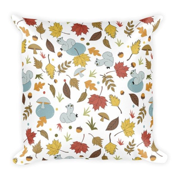 Fall Motif Square Pillow
