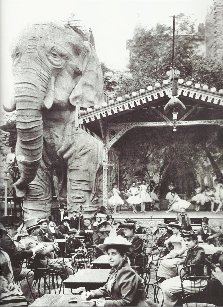 1899: The gardens of Moulin Rouge, a cabaret in Paris, featured a gigantic stucco elephant, into which men could climb for private shows in the creature's belly. No women were allowed for these shows, except for the entertainers. I want this hanging in my room.