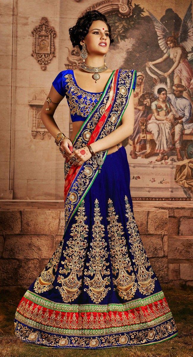 Tantalizing Deep Royal Blue, Coral & Cream Embroidered #Saree