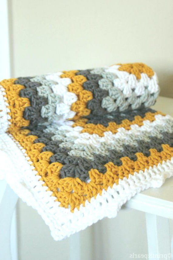 Crochet Lovey Crochet Baby Blanket Mustard Yellow And Gray Cotton By Printand In 2020 Met Afbeeldingen Deken