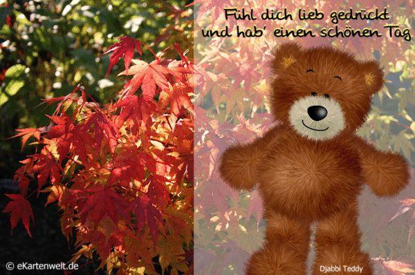 Funny Street Signs >> Fühl dich lieb gedrückt und hab' einen schönen Tag. Animierte Djabbi Teddy Herbst-Grußkarte ...