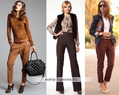 С чем сочетаются коричневые брюки