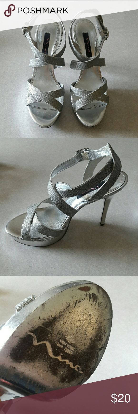 SALE!! Nina New York Silver Strappy Heels Sz 10 Nina New York elegant silver strappy heels in a women's size 10. They have some signs of wear, but nothing that you would notice while in use. Nina Shoes Heels